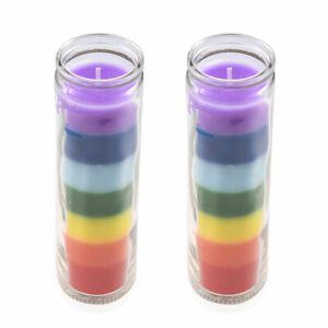 Home-Decor-Aromatherapy-Set-of-2-Multi-Color-Wax-Glass-Jar-Tea-Light-Candle