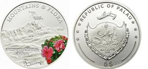 2011-Palau-Large-Proof-Color-Silver-5-Flowers-Mount-PUNCAK-TRIKORA
