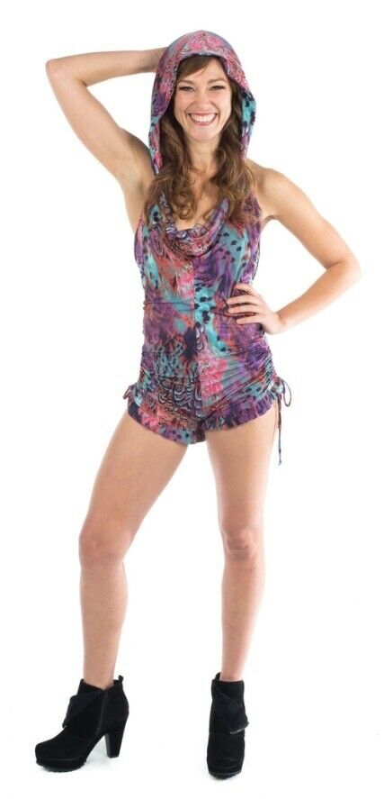 Warrior Within Purple Tail Feather One Piece Shortsie Bodysuit w hood brand new