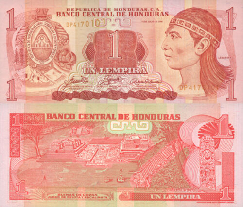 Lenca Chief//Ruins//p84e UNC Honduras 1 Lempira 13.7.2006