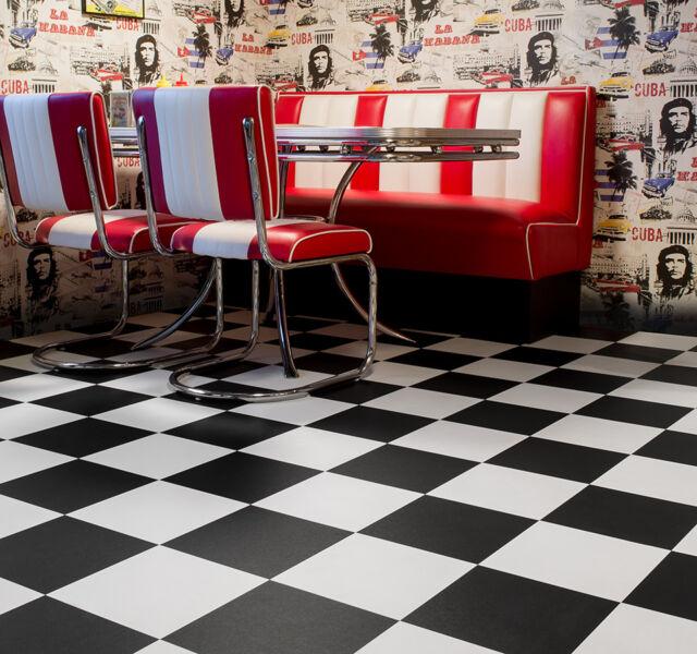 PVC Bodenbelag Schachbrett schwarz weiß 400 cm Breite 9 95