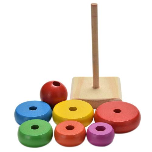 1x arco iris torre anillo de apilado de madera para niños bebé jugueteeducativo