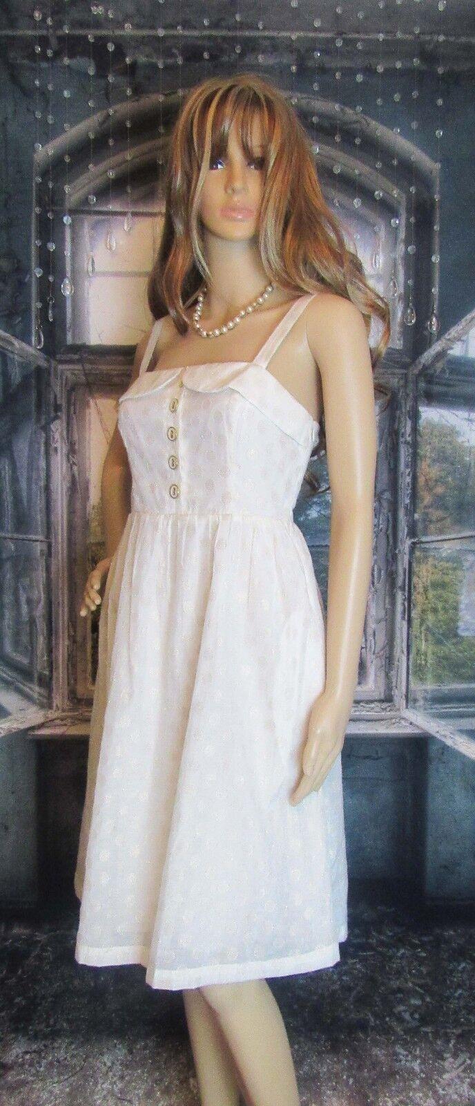 Maeve Anthropologie Romantic Ivory Metallic gold Dot Dress Size 4 Very Pretty