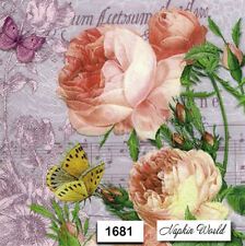 (1681) TWO Individual Paper LUNCHEON Decoupage Napkins - PEONY BUTTERFLY FLOWERS
