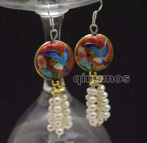 SALE-4-5mm-White-Round-Natural-Pearl-amp-18mm-Red-Cloisonne-Dangle-earring-ear586