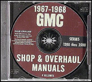 1967-1968 GMC Shop Manual CD Pickup CK Truck Suburban G Van 1500-3500 Service