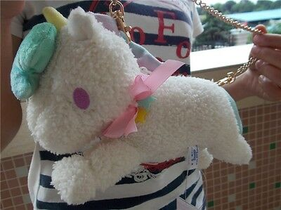 "10""Sanrio Little Twin Stars White Unicorn Bag Charm Animal Doll Plush Toy"