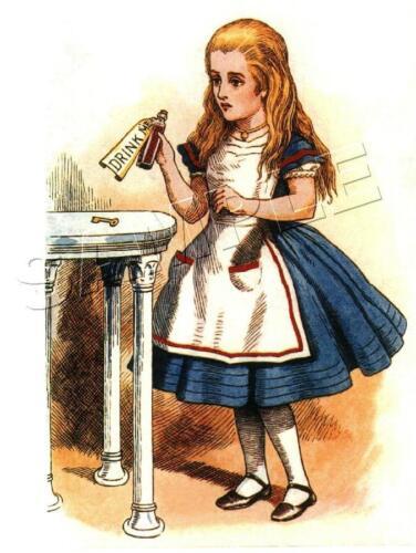 """VINTAGE VICTORIAN Alice in Wonderland CANVAS ART PRINT /""""Drink Me/"""" TENNIEL"""