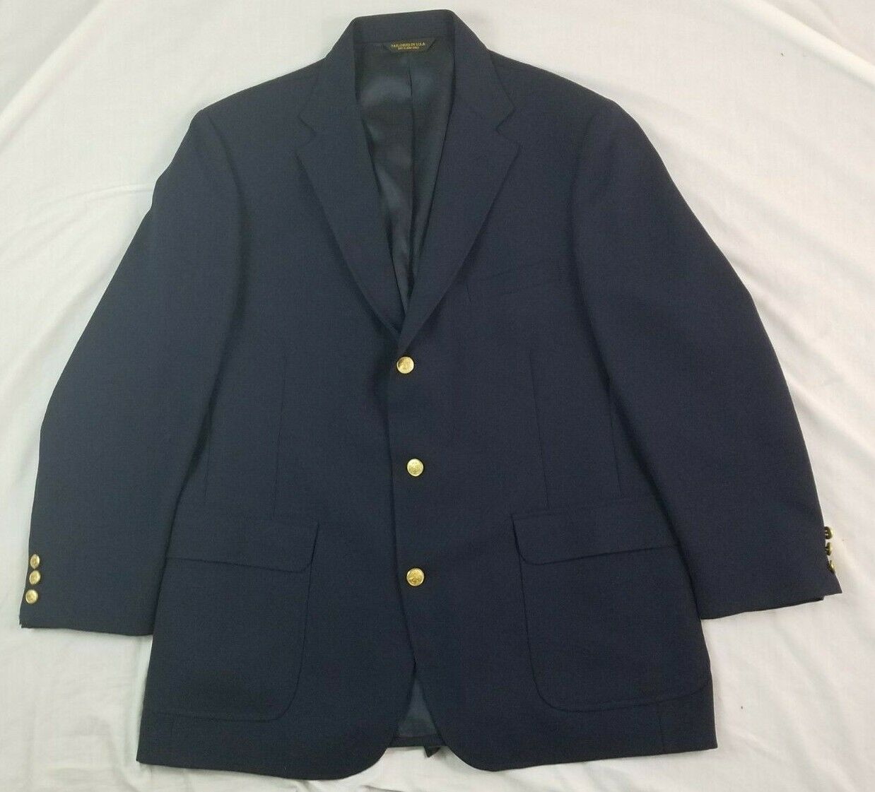 ORVIS Mens Blazer Sport Coat Navy bluee gold Buttons Vintage USA 100% Wool 46R