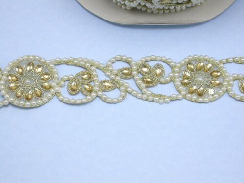 """41mm Beaded Sari Saree Border Gold with Faux Pearl Embroidered 1 5//8/"""" Per Mtr"""