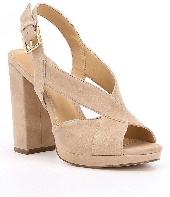 33c09c69a20 Michael Kors Becky Suede Platform Woman HEELS Sandals Sand Sz 10 M ...