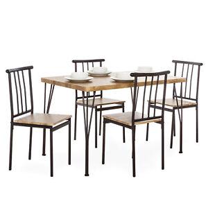 BCP-5-piezas-de-metal-moderno-y-conjunto-de-muebles-de-madera-Mesa-de-comedor-con-4-SILLAS-MARRoN