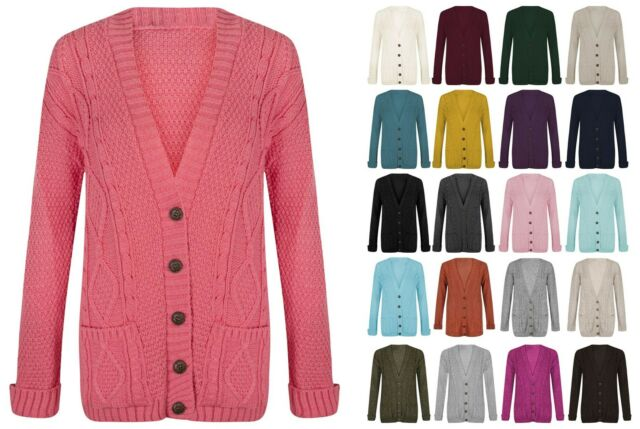 Womens Ladies Chunky Cable Knitted Long Sleeve Button Grandad Knitwear Cardigan