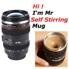 Camera Lens 24-105mm Self-Stirring Coffee Tea Travel Thermos Stainless Cup Mug