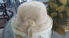 BEAUTIFUL Vintage Ladies Mink Hat w TASSEL, BRAIDING & Vintage Hat Box!