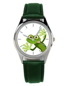 Frosch-Froesche-Frog-Geschenk-Geschenkidee-Uhr-20192-B-Gruenes-Band