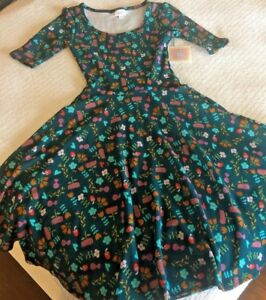 New-LuLaRoe-Nicole-Flare-Dress-Floral-amp-Hearts-Teal-Pink-Green-Red-Orange-XS