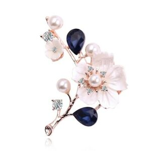 2X-Natural-Shell-Flower-Brooch-Vintage-Blue-Glass-Crystal-Brooch-Rose-Gold-J6B7