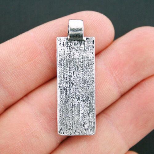 SC1113 4 Pendant Charms Antique Silver Tone Abstract Design Rectangle