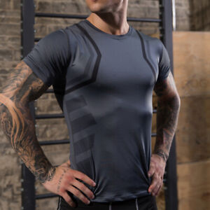 Mens Compression Under Shirt Base Layer Tight Tops Gym Tunic Athletic T-Shirts