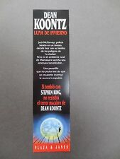 BOOKMARK DEAN KOONTZ Winter Moon Spanish Publisher's Promotional 2003 Book List