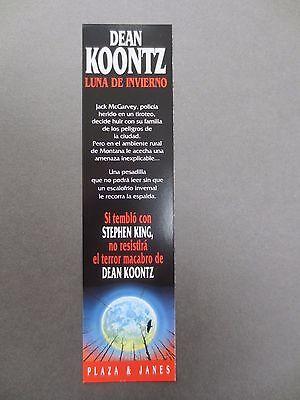 BOOKMARK DEAN KOONTZ Winter Moon Spanish Publisher's Promotional 2003 Book List