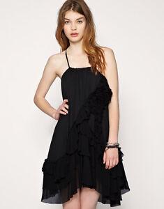 Dress Black 10 Hem £ Ruffle Floral Azal All 145 Rose Saints 38 Silk 8ngqpUz