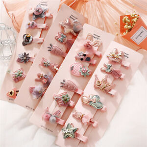 6Pcs Cute Fruit Girl/'s Baby Hair Clips Snaps Hairpin Kid Hair Bows Accessories