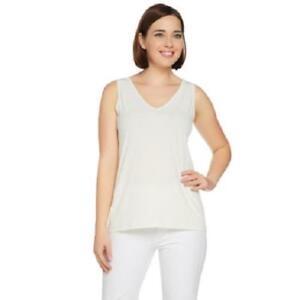 Susan-Graver-Size-3X-Ivory-Liquid-Knit-V-Neck-Tank