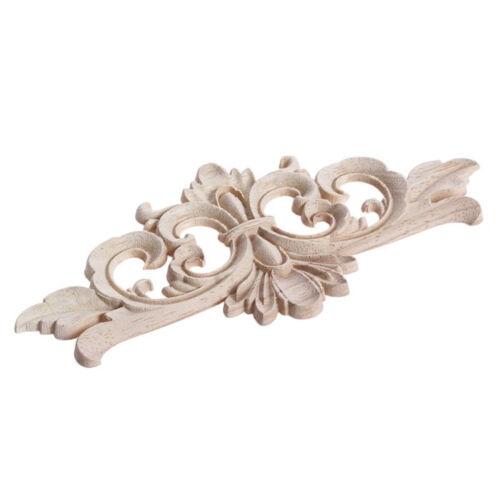 1X Wood Carved Corner Applique Flower Frame Decal Home Furniture Bed Ornaments