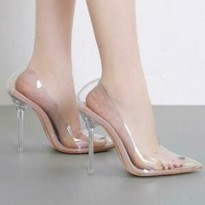 Roma-Women-High-Clear-Heel-Shoes-Transparent-PVC-Slip-on-Pointy-toe-Summer-Pumps
