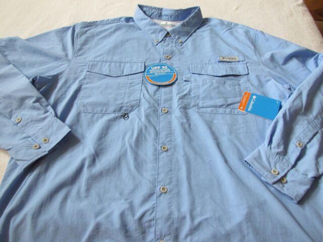 689d45cb9c6 NWT COLUMBIA PFG DISTANT WATER Omni Shade Vented Fishing Shirt 2XT Blue