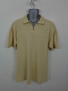 Para-Hombre-Tommy-Hilfiger-Beige-1-4-Cremallera-Manga-Corta-Camisa-De-Polo-Estilo-Reino-Unido-M