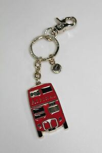 ASPINAL-OF-LONDON-Gold-Tone-Double-Decker-Red-Bus-England-Red-Enamel-Keyring-NEW