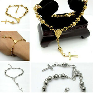 New-Fashion-Rosary-Beads-Chain-Bracelet-316L-Stainless-steel-Silver-amp-Gold-Unisex