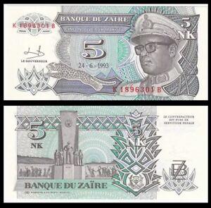 ZAIRE-5-Nouveaux-Makuta-1993-P-48-Africa-UNC-World-Currency