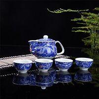 Exquisite 5 Pcs Blue-and-white Dragon Design Ceramic Tea Pot Tea Cups Set In...