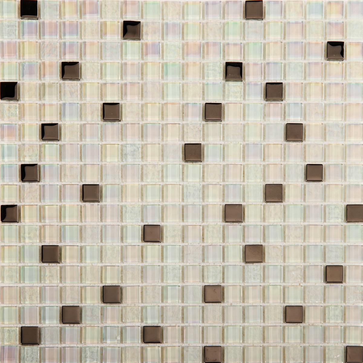 1 SQ M Weiß Iridescent Texturot and Smooth Glass Mosaic Tile Sheet 0143