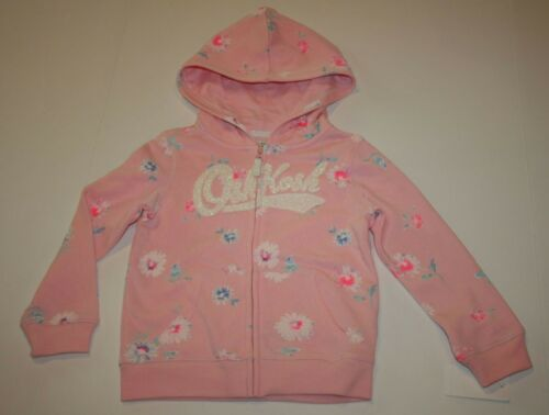 NEW OshKosh Girls Hoodie Top 4T 5T Glitter Logo Pink Floral Print Full Zip