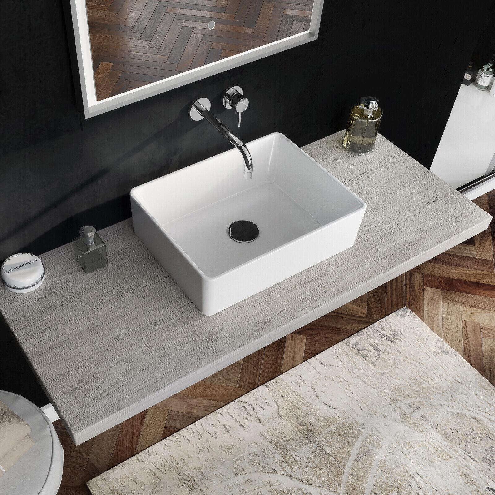 Lavabo 49x37,5 rettangolare bacinella lavandino da appoggio arrossoo bagno design