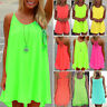 Women's Neon Color Chiffon Loose Tops Summer Beach Party Casual Short Mini Dress