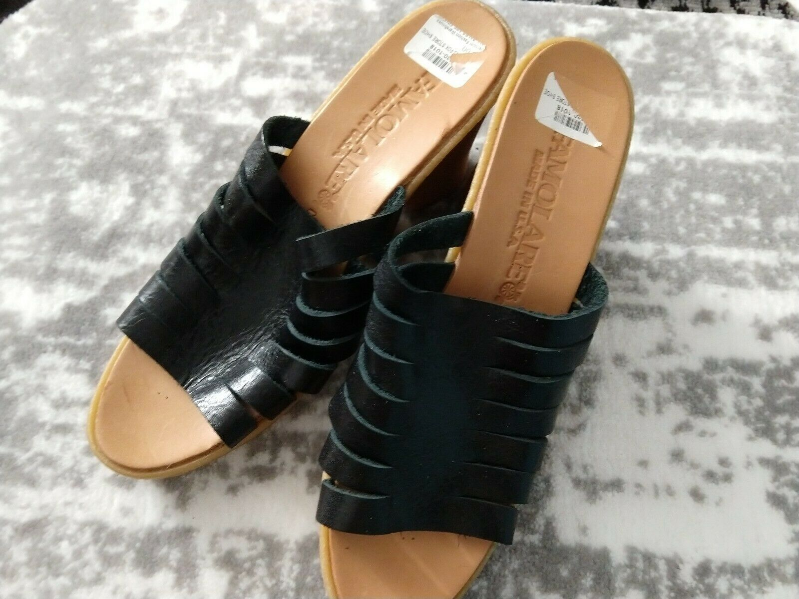 New FAMOLARE size 8.5 Strappy Wedge Sandals black Leather dress up shoes 8 1 2