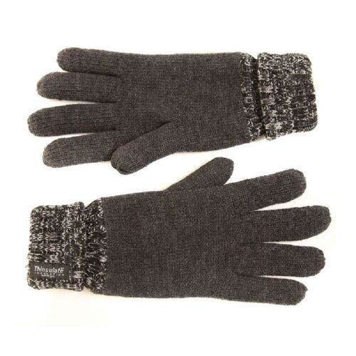 Mens Thermal Thinsulate Knitted Full Fingered Gloves Winter Warm 3 Colours