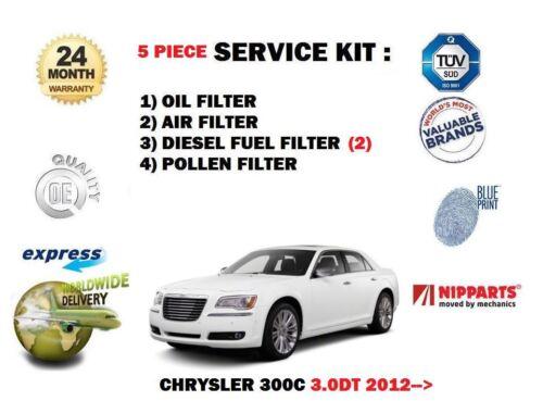 FOR CHRYSLER 300C 3.0DT 2012--/> NEW OIL AIR FUEL POLLEN 5 FILTER SET SERVICE KIT