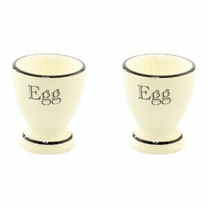 VINTAGE RETRO STYLE CREAM AND BLACK LINE SET OF TWO EGG CUPS NEW IN BOX