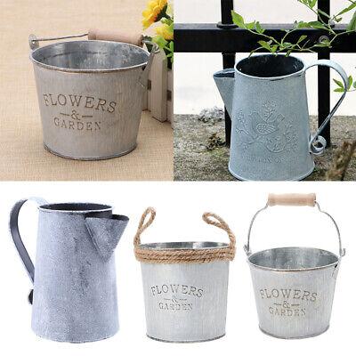 2x Iron Buckets Shabby Chic Wood Handle Flower Pots Pitcher Jug for Garden
