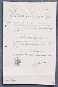 Alte-Urkunde-Preussen-Allgemeines-Ehrenzeichen-Verleihungsurkunde-1910-Prussia