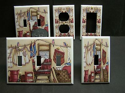 LAUNDRY ROOM CLOTHES LINE & OLD SCRUB BOARD LIGHT SWITCH OR OUTLET COVER V473