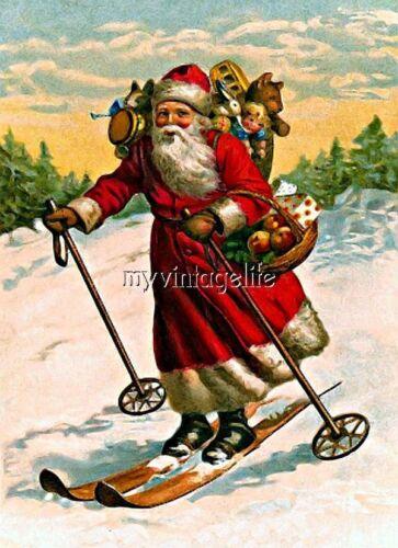 Vintage Santa Claus on Skis Quilting Fabric Block 5x7