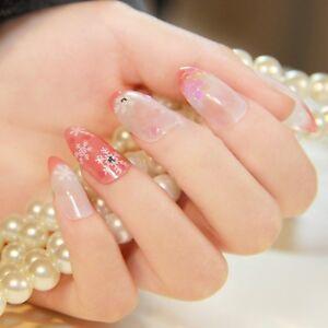 SNOWFLAKE Stiletto Full Cover False Nails Pink Set Wedding Bride ...